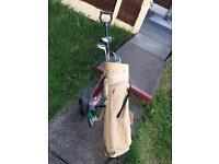 Golf clubs + bag+ trolley