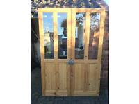 Wooden, glazed internal doors (Pair)
