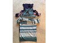2 ladies striped M&S polo neck size 8