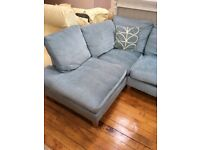Laura Ashley corner duck egg blue baslow sofa (left hand L)