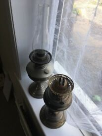 Antique Oil lamp with glass + one without £30 pair