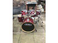 Mapex V Cherry Red Lacquered 6 Piece Full Drum Kit