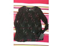 *** Zara laced black top XS - brand new ***
