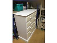 Shabby chic painted pine 5 drawer chest of drawers