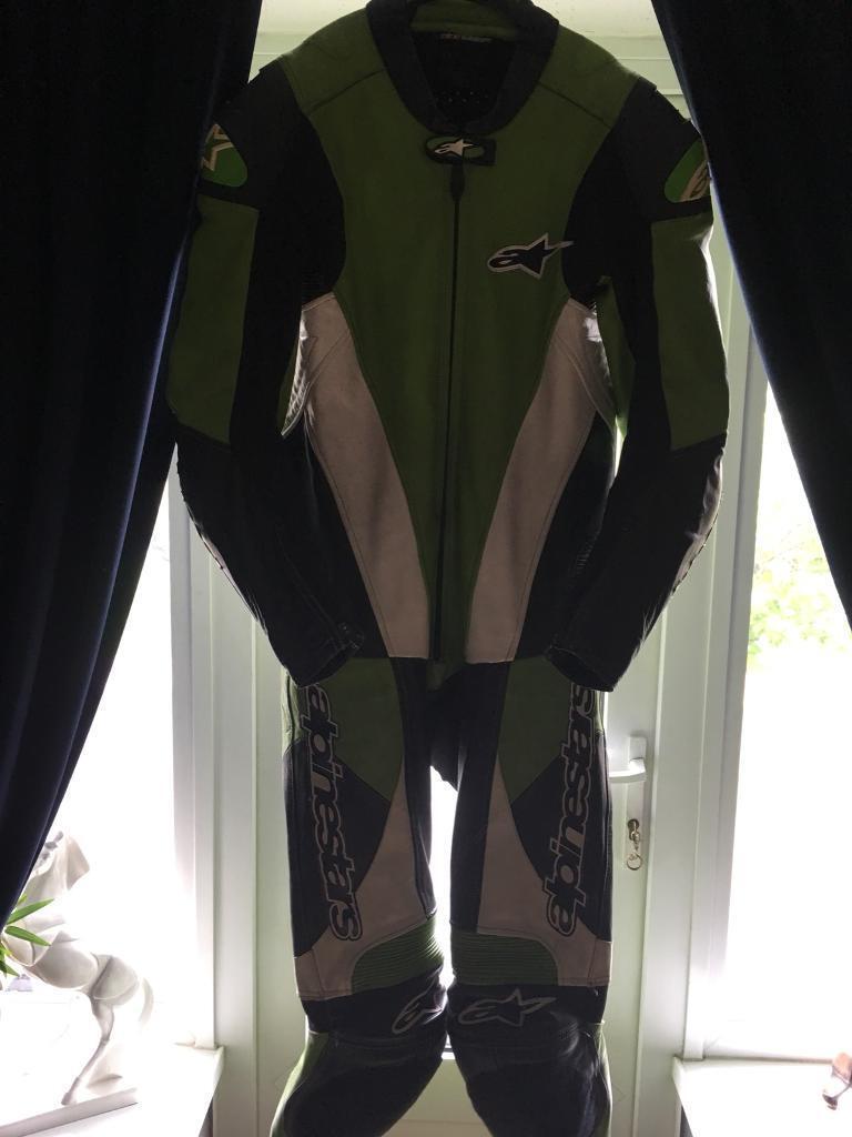 Alapinestar full race one piece leathers, BARGAIN Kawasaki green