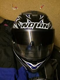 nolan motorbike helmet with jacket and pants