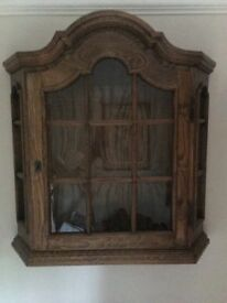 Oak Display Cabinet- medium oak - glass shelves -700 high x 670 wide x 170 deep