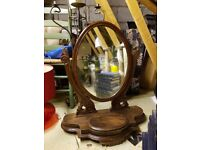 Vintage Dressing Table Mirror Dark Wood with compartment for trinkets