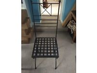 Wrought iron black high-back chairs x 4 with cream cushions