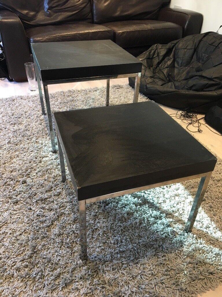 Black Metal Bedside Tables: 2x Coffee Side Bedside Table Black Wooden Metal