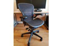 Herman Miller Aeron (Size B) Black, Fully Loaded Adjustability Options, ergonomic office chair