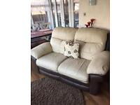 Two seater leather settee