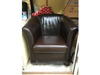 Pair of laura Ashley leather tub chairs