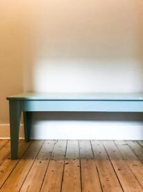 Ikea bench painted in Farrow & Ball - Dix Blue