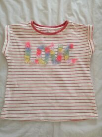 John Lewis Girls Love Fringed Coral T-Shirt (size 3 years) as new