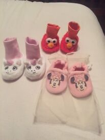 3 pairs of baby slippers all new never used