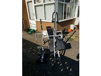 York multi function bench and 100kgs in weights and bars