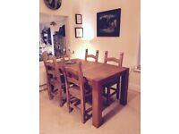 4x Solid Wood Dining Chairs