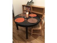 IKEA Black Round Extending Bjursta Dining Table Immaculate Condition Seats 4-8 People RRP £190!