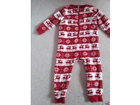 Girls age 3-4 years Next Christmas Fleece all in one pyjamas