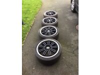 "Black/chrome 17"" Konig E-Racer Alloys 4x100 PCD (ZR, 25, corsa, punto, c1, 3 series and lots more)"