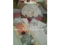 Wedding Reception Centrepiece Hire £5 Cream Chair Cover Hire 79p Martini Vase Hire Chandelier Vase