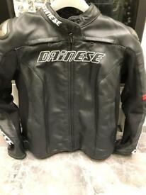 NEARLY NEW Dainese Racing D1 Leather Jacket - Black / Red SIZE S