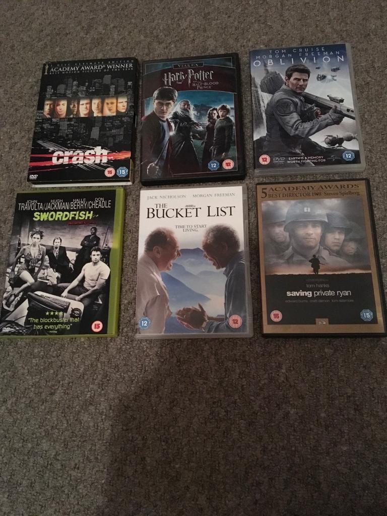 6 DVD's Crash; Oblivion, Saving Private Ryan, Swordfish, The Bucket List and Harry Potter
