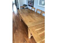 Farmhouse table and chairs and bench