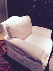 Armchair: upholstered in white fabric, virtually unused