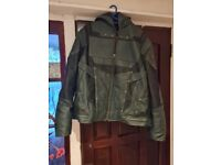 Mens green arrow hoodie leather jacket with attached hood