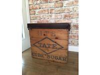 Original Tate sugar crate upcycled into Storage stool