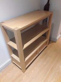 Ikea/ next Oak shelving unit with drawers