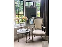 French Louis Style Chair with Blue Toile de Jouy Back