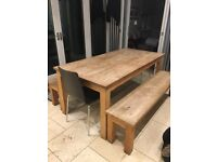 Kitchen Table + Two Benches + Two Chairs. Seats 8 Comfortably