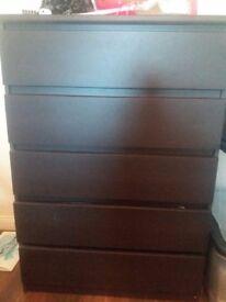 Chest of drawers (dark wood)