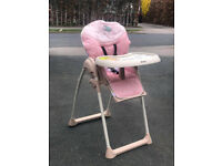 NEW NO BOX HAUCK SIT N RELAX HIGHCHAIR IN BIRDIE PINK RECLINES AND HEIGHT ADJUSTABLE