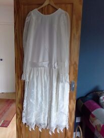 Exquisite wedding dress. SIZE 14 .Cream satin and beautiful detailed lace.Made by Romantica of Devon