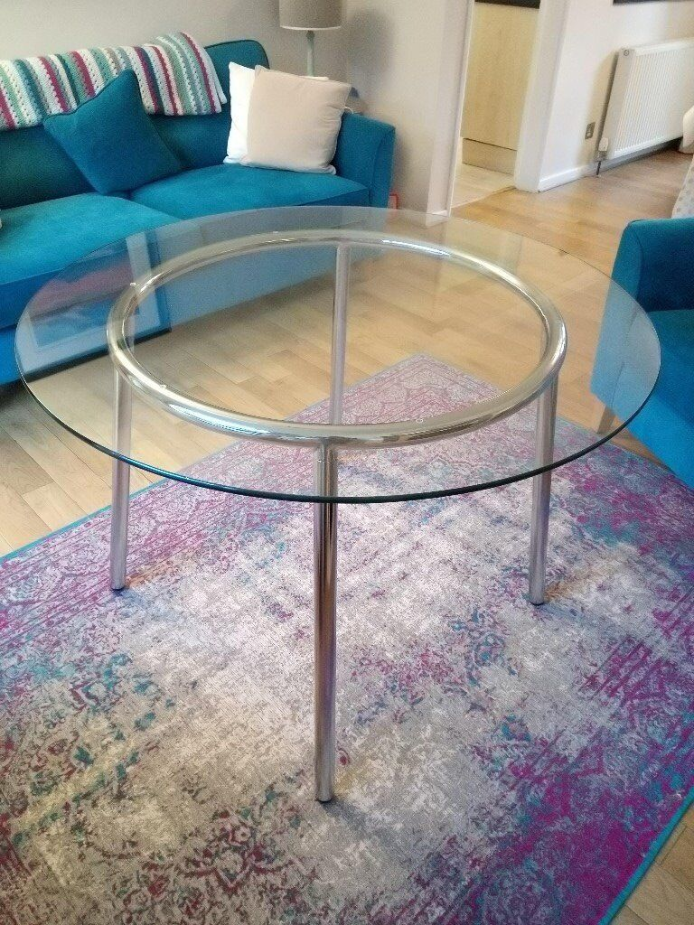 Ikea Salmi Round Glass Dining Table