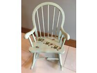 SHABBY CHIC FURNITURE - SMALL/KIDS ROCKING CHAIR - PAINTED LAUREL GREEN CHALK PAINT WITH BIRDS