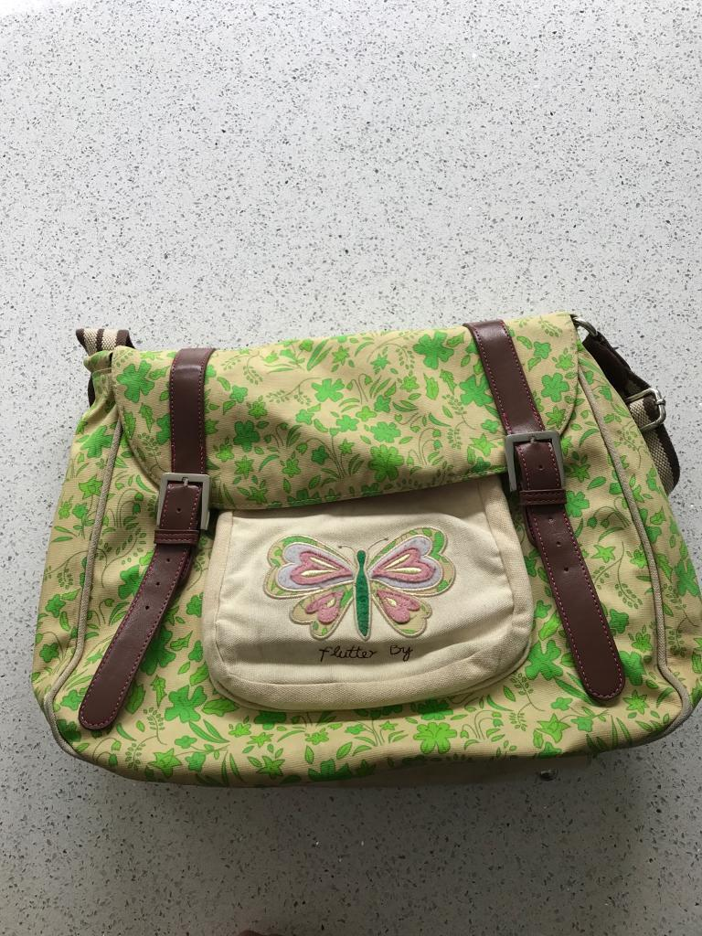 Pink Lining Flutter By Green Floral Changing Bag