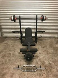 FREE DELIVERY ADJUSTABLE BENCH, BARBELL, TRI BAR & 30KG WEIGHTS