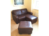 Brown leather corner sofa and puffet - two seater