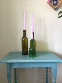 Upcycled handpainted Blue gradient table with twist legs