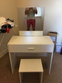 Brand new white dressing table and matching stool