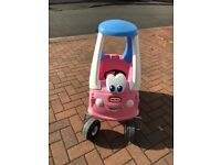 Pink cozy coupe little tikes car