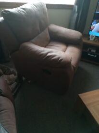 Rocker/recliner chair plus coffee table