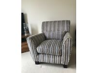 Canterbury designer stripe chair with cushion, Laura Ashley