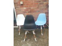 Eames / Eiffel style plastic black chair wooden legs