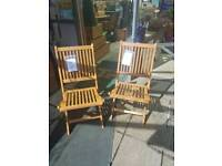 2 Acacia hardwood wooden chairs